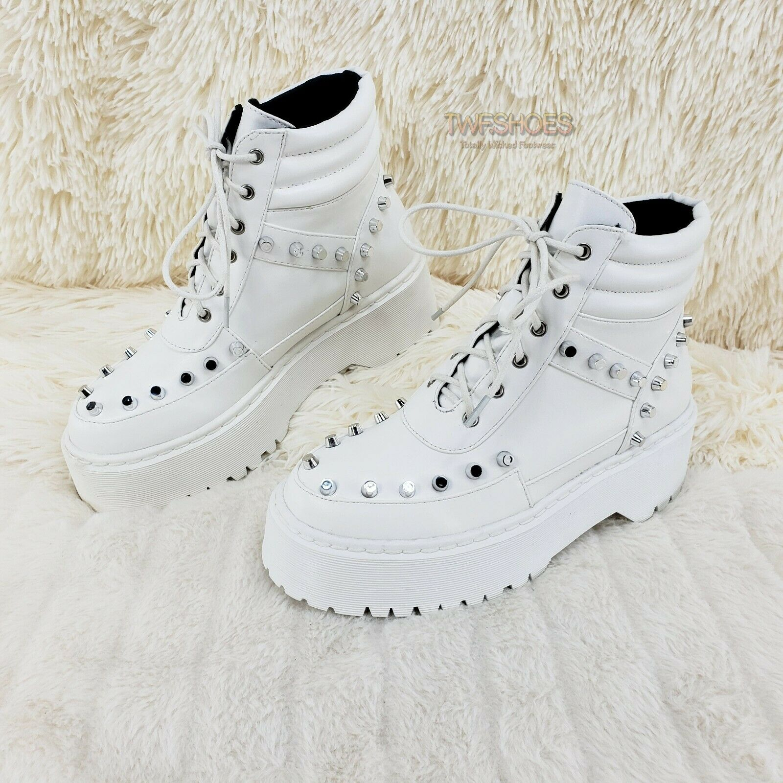 Image of Cyber Punk Silver Cap Stud Combat Sneaker Ankle Boots White 6-11