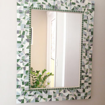 Green and Gray Wall Mirror // Large Decorative Mosaic Mirror