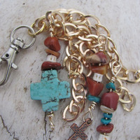 Southwestern Keychain- beaded charms #southern #texas #cowgirls #southwestern #western #boots