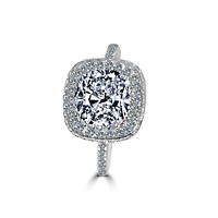 2 CT. Cushion Diamond Veneer Cubic Zirconia Halo Sterling Silver Ring.