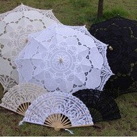 FREE SHIPPING Handmade Parasol and Fan Umbrella Batten burg lace embroidery wedding