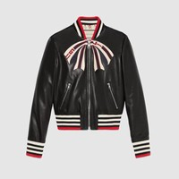 Gucci - Leather bomber jacket with Gucci bow