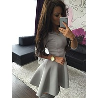 Three Quarter Sleeve Slim Ball Gown Pleated Mini Dress Fashion Women's High Waist Bodycon Mini Skater