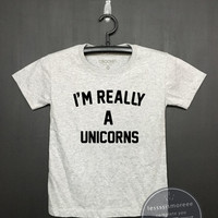 I'm Really a Unicorn Shirt - Kids Birthday Shirt- Girl's birthday, Boy's birthday, Birthday tee - Funny Birthday, Flock printing