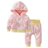 Newborn Baby Girls Christmas Clothes Hoodie Tops T-shirt+Pants Kids 2pcs Suit Infant Baby Boys Clothing Sets Toddler Outfits