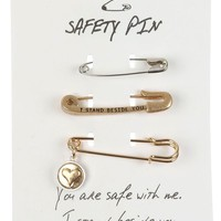 Mulit Color 3 Pc Message Safety Pin Pin And Brooch
