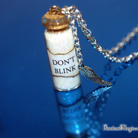 Doctor Who Inspired, Don't Blink Magical Necklace with an Angel Wing Charm, BBC Television Show, by Fandom Magic