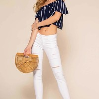 Alter Your Mood Distressed Jeans - White