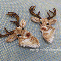 1 pair Vintage Style Fawn Applique patch, Iron On Patch Deer Patch trim Iron or Sew On patch Various Colors