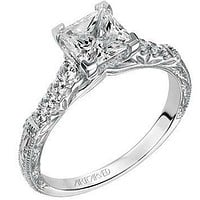 """Artcarved """"Charmaine"""" Engraved Band Diamond Engagement Ring"""