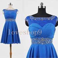 2014 Short Royal Blue Chiffon Prom Dress Evening Party Homecoming Bridesmaid Cocktail Formal Dress New Arrival Lovely Bridesmaid Dress