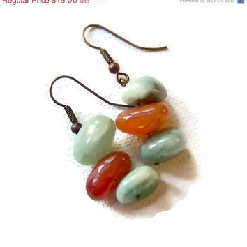On Sale Rustic Earrings, Natural Copper Earrings with Orange Carnelian and Sage Green Agate Stones, Free Shipping