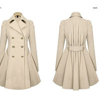 New type of the spring and autumn period and the han edition paragraph dust coat grows in large size ladies double-breasted long sleeve Female coat = 1956201220