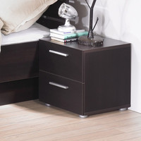 Modern Bedroom Nightstand in White with 2 Storage Drawers