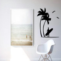 Surfer Beach Palm Trees Wall Decal - Home Decor - Living Room - Bedroom - Office - Gift Idea - High Quality Vinyl Graphic
