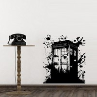 Wall Decal Doctor Who Tardis Mural Sticker Decor Art Police Box Gift Dorm Bedroom M1623