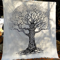 BIG black and white indian cotton hippie tapestry, hippie tree of life wall hanging tapestries, bohemian boho bedding throw bedspread decor