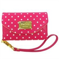 Premium Leatherette Polka Dots Wristlet Clutch Case Wallet for Apple iPhone 4/S with Back Camera Opening in Hot Pink