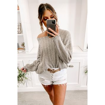 So Unreal Striped Knit Sweater (Charcoal/Oatmeal)