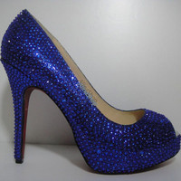 royal blue bling shoes sparking party heels pary shoes custom bridal shoes wedding shoes heels custom crystals color shoes size