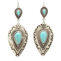 Silver Boho Dangling Turquoise Earrings by Charlotte Russe