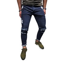 NIBESSER Men Ripped Jeans Stretch Destroyed Deep Blue Ankle Zipper Skinny Jeans Street Hip Hop Pencil Pants Fashion For Men