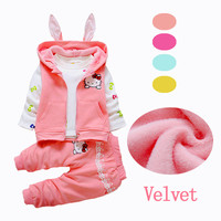 2016 New Velvet Baby Girls Clothes Sets 2pcs 3pcs Hooded Jackets Kids Clothes Toddler Girl Clothing Sets Hello Kitty Winter
