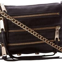 Rebecca Minkoff Mini 5 Zip Convertible Crossbody Handbag,Black Cherry,One Size