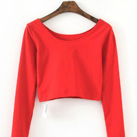 Casual Long Sleeve Cropped Top