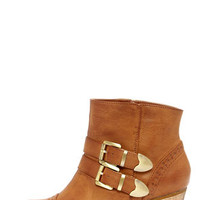 Restricted City Search Tan Brogue Ankle Boots