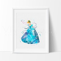 Cinderella 5 Watercolor Art Print