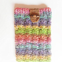 Cabled Mini Tablet or e-Reader Cozy in Pastel Rainbow Stripes, ready to ship.