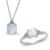 Lab-Created Opal Ring and Pendant Set in 14K White Gold with Diamonds - Sets - Zales