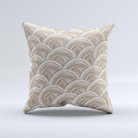 Layered Tan Circle Pattern ink-Fuzed Decorative Throw Pillow