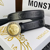 Versace fashion round buckle Medusa engraved men's and women's belts