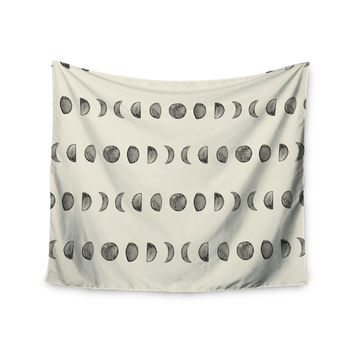 """KESS Original """"Phases Of The Moon"""" Beige Gray Wall Tapestry"""