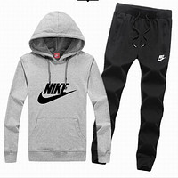 Nike tide brand men and women fashion leisure suits Gray + black