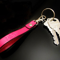 Key Fob Hand Stamped Key Chain Personalized Monogrammed Key Fob Zipper Pull Brite Colors In Leather Your choice of Letters