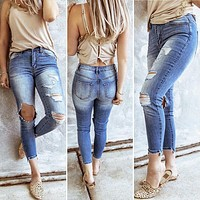 2020 new women's fashion high-waist ripped pants jeans