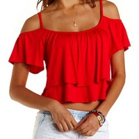 Poppy Red Cold Shoulder Flutter Crop Top by Charlotte Russe