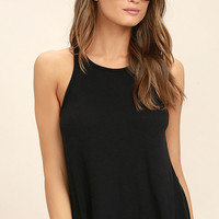 Free People Long Beach Black Tank Top