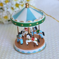 Blue Circus Carousel Cake Topper for Baby Showers, Birthdays Vintage Carnival
