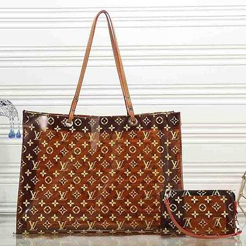 LV Louis Vuitton Fashion Women Shopping Bag Leather Shoulder Bag Satchel Tote Handbag Crossbody Two Piece Set Brown I-KR-PJ
