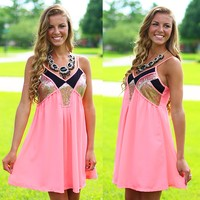 Hint Of Sparkle Dress in Peach