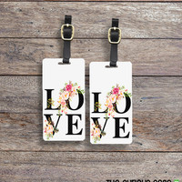 Luggage Tag Set LOVE Floral Cottage Chic Metal Luggage Tag Set With Printed Custom Info On Back, 2 Tags Choice of Straps