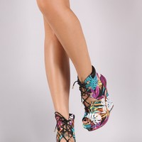 Liliana Tropical Print Lace Up Platform Wedge Booties