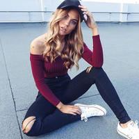 Sexy Pull Femme Women Knitted Sweater Off Shoulder Top Long Sleeve Slash Neck Solid Stretch Sweater Tops Cropped Pullover GV391