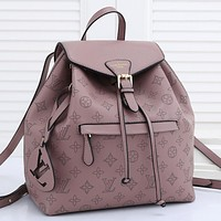 LV Louis Vuitton solid color pinhole letter pattern ladies shopping backpack school bag Daypack Pink