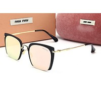 Miu Miu Trending Women Stylish Sun Shades Eyeglasses Glasses Sunglasses Pink/Black Frame I12777-1