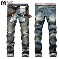 European American 2017 Style fashion brand cotton men's jeans luxury Man's casual denim trousers zipper Slim stripes jeans Hot